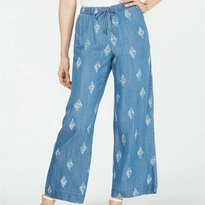 Style & Co Printed Wide-Leg Pull-On Pants Chambray
